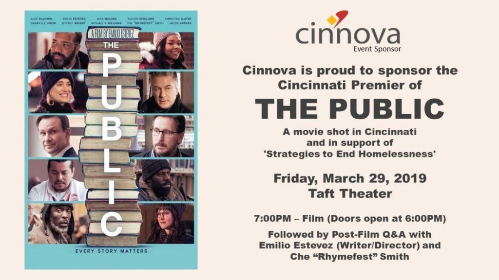 "Cincinnati Premier of ""THE PUBLIC"" sponsored by Cinnova"